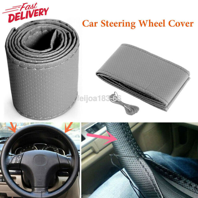 Red Thread DIY Genuine Leather 38cm Car Auto Steering Wheel Cover Black Leather