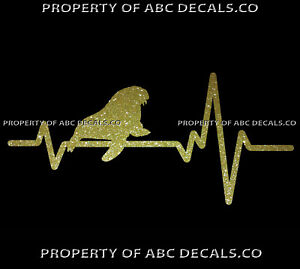 VRS-Heart-Beat-Line-ANIMAL-WALRUS-Tusk-Whiskers-Flippered-Glacon-CAR-METAL-DECAL