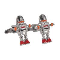 Coloured Cool Retro Sci Fi Robot Chrome Look Cufflinks in gift box AJ024 BNIB