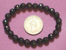 Gemstone Bracelet Black Onyx 8mm FACET Round Beads Stretch
