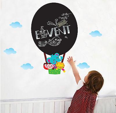 Hot Air Balloon Black Chalkboard Bathroom Bedroom Wall Stickers, Wall Art - 628