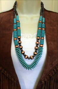 Southwest-Turquoise-Faux-Navajo-Copper-Pearl-Beads-Necklace