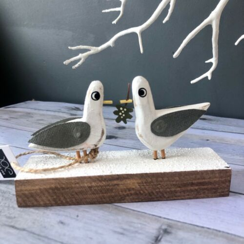 Shoeless joe Love birds. Seagulls with mistletoe standing Christmas decoration