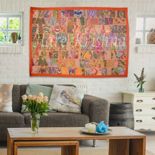 Orange Indian Wall Hanging Bohemian Hippie Decor Cotton Wall Tapestry 152x101/'