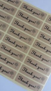 100-x-039-Thank-You-039-Flower-Stickers-Natural-Kraft-Craft-Supplies-DIY