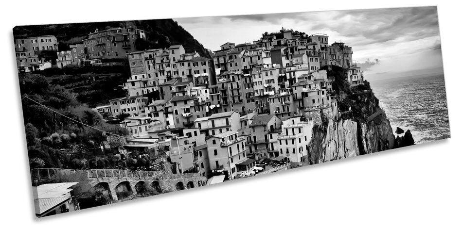 Manarola Liguria  B&W CANVAS WALL ART Panorama Framed Print