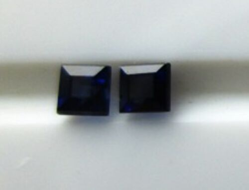PAIR OF 2 MM SQUARE SAPPHIRE 100% NATURAL UNTREATED VIVID BLUE
