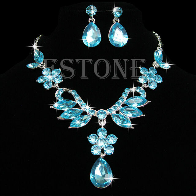 Women Wedding Prom Crystal Rhinestone Drop Pendant Necklace Earring Jewelry Sets