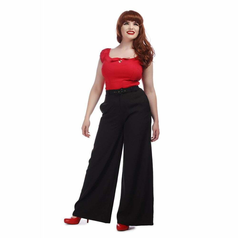 Collectif Vintage Vicky Crepe Trousers Black UK22