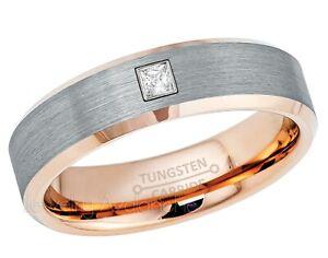 0-05-KT-Corte-Princesa-Anillo-con-Diamante-2-Tonos-Oro-Rosa-Tungsten-Alianza