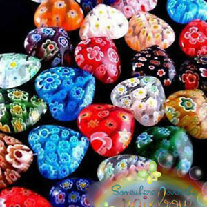 100X 10mm Shining Heart Shaped Millefiori Glass Craft Beads Multi-Color NEW100%