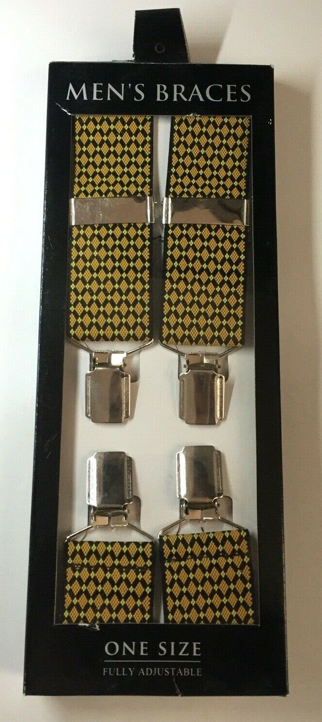 Mens Braces Yellow Diamond Design One Size Fully Adjustable Chrome Fitting BG1