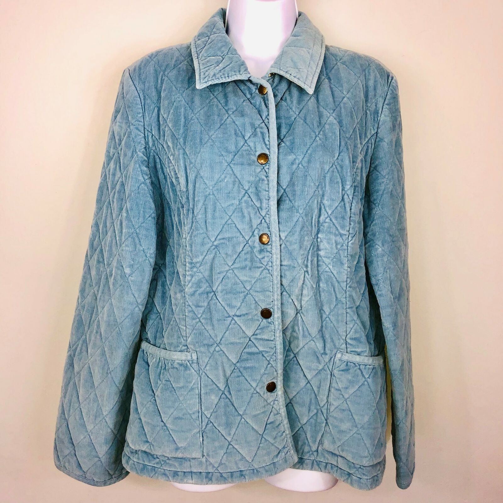 346 Brooks Bredhers Womens Coat sz 10 bluee Barn Quilted Snap Outdoor Classic B78