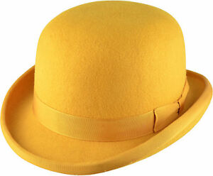 6741af1cea5 Image is loading MUSTARD-YELLOW-HAND-MADE-BOWLER-HAT-100-Wool-