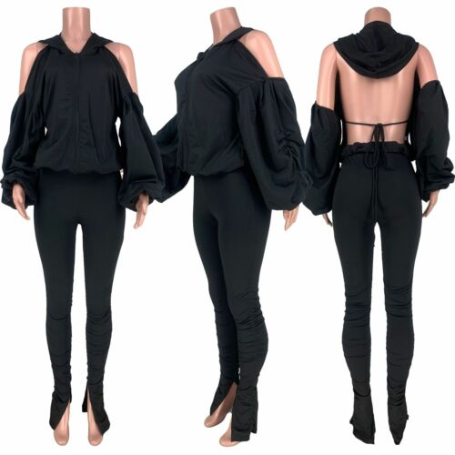 Lady Open Back Fitness Outfit Hooded Puff Sleeve Tops Stacked Slit Pant 2PCS Set