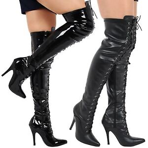 Destiny Donna Thigh Heels High Stiletto Heels Thigh Lace Up Pointed Toe Stivali ... 27ec16
