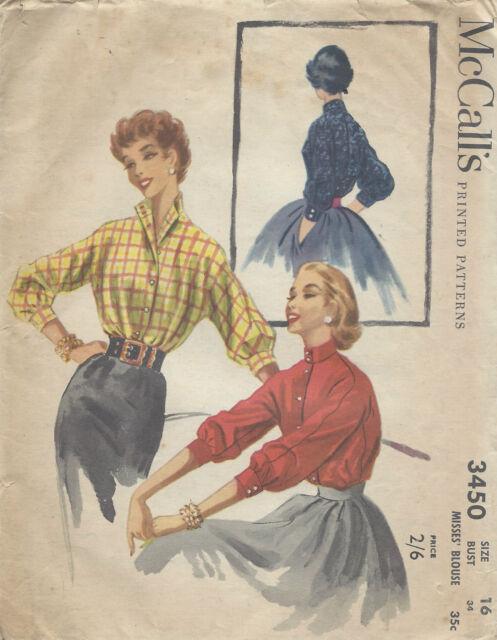 1955 Vintage Sewing Pattern B34 BLOUSE (R960)