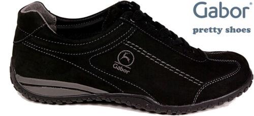 GABOR Schuhe Sneaker Halbschuhe Schnürschuhe schwarz Leder Wechselfußbett NEU