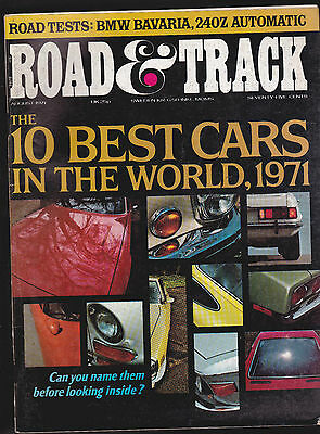 Road & Track Magazine BMW Bavaria 10 Best Cars  August 1971 FREE US S/H