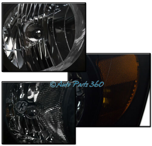 06-08 DODGE RAM 1500 2500 3500 BLACK//SMOKE HEADLIGHTS W//BLUE DRL LED KIT+6K HID