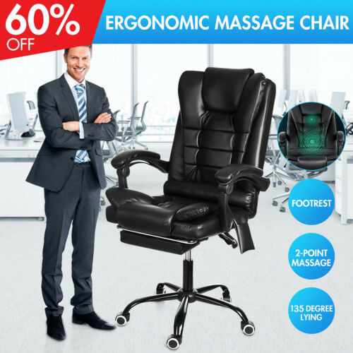 Office Chair Leather Massage Recliner Gaming Chair Computer Desk Chair Footrest