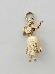 Pendant 14k Yellow Solid Gold  Hawaiian Movable Dance Hula Girl Dancer Charm