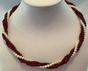 Vintage Red Lucite Faux Pearl Twisted Beaded Necklace Choker
