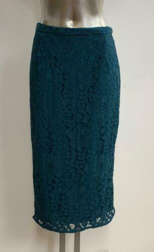 GREEN LACE CASUAL PENCIL TUBE WIGGLE STRETCH KNEE LENGTH SKIRT SIZE 8-16