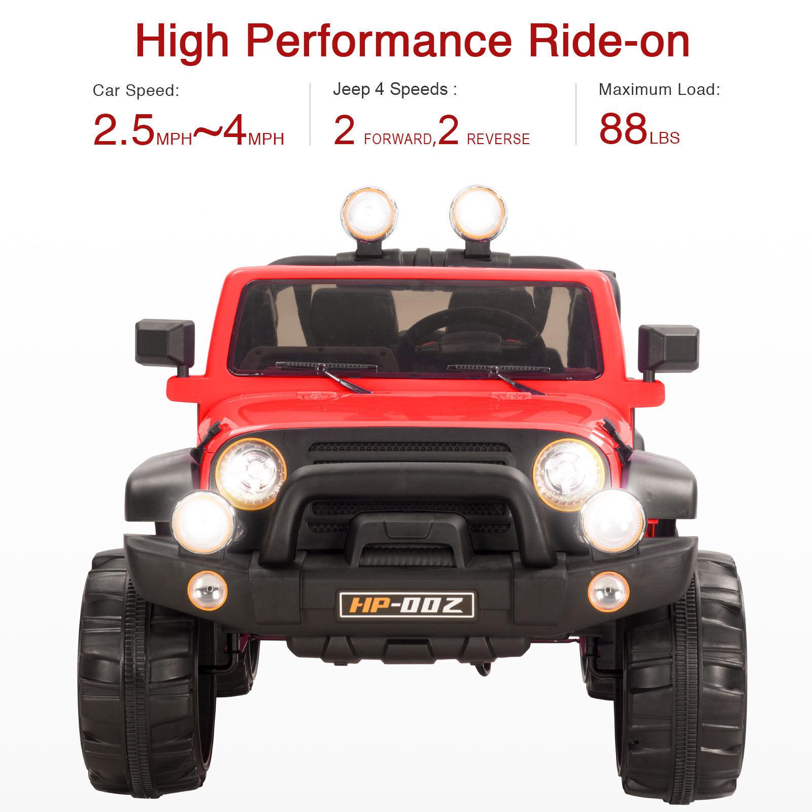 Rote 12v kinder fahren auf spielzeug jeep auto elektrische batterie fernbedienung 4 speed mp3