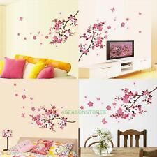 Pink Sakura Cherry Blossom Flowers PVC Wall Stickers Decor Mural Art Decal Paper