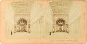 Italia Roma Interno Cattedrale st. Paul Foto Stereo Vintage Albumina PL62L2