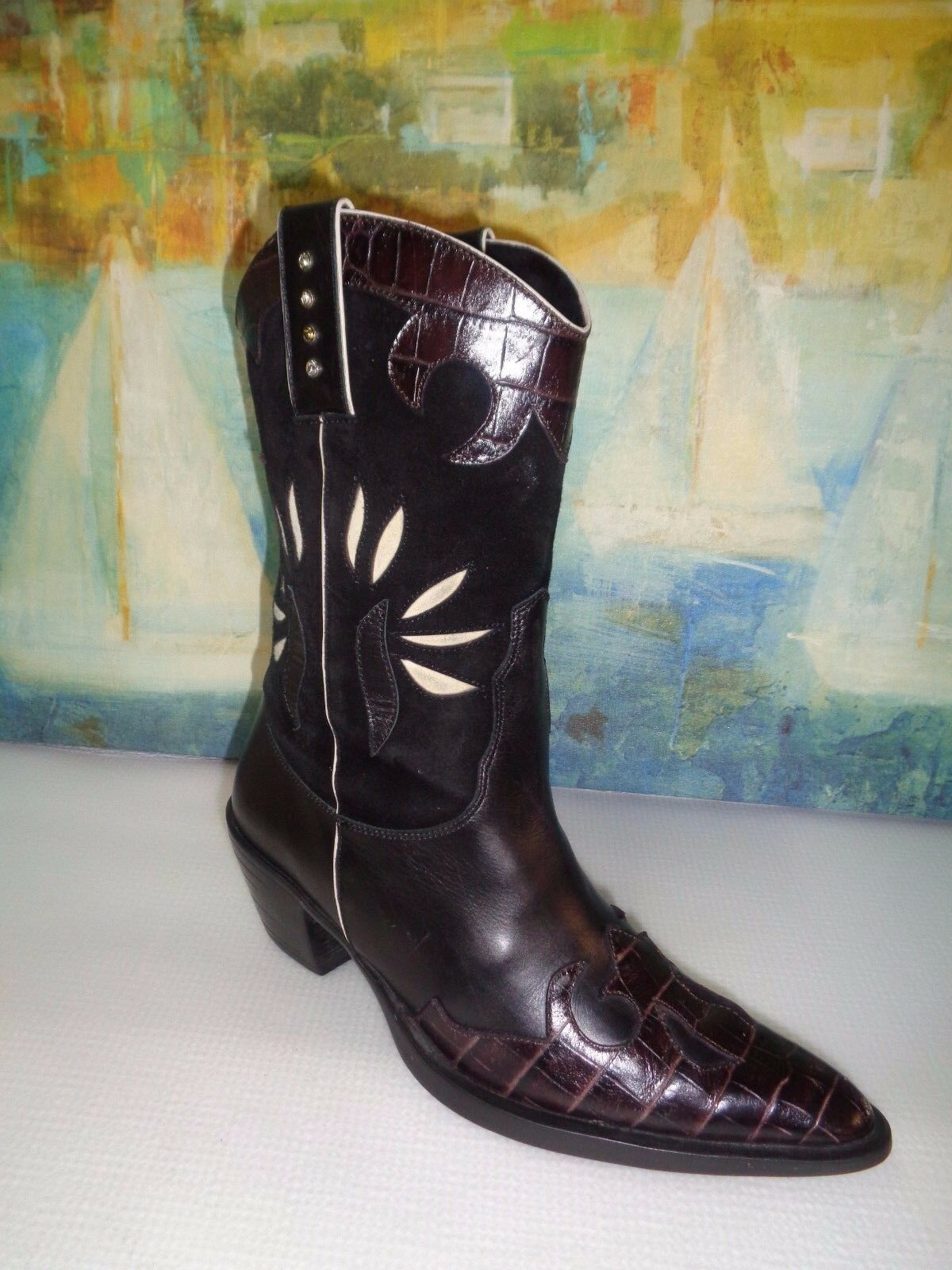 VAN ELI Black Faux LEATHER WESTERN BOOTS Sz 5.5