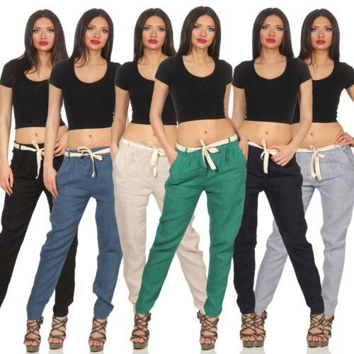 Donna Pantalone Lino sparpagliata Casual Lunga 100% Lino Pantaloni UNI stoffa cintura