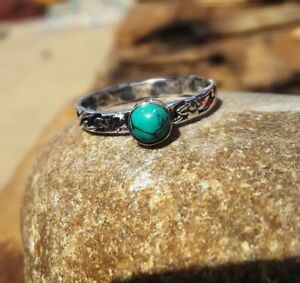 Turquoise-Solid-925-Sterling-Silver-Band-Meditation-Statement-Ring-Size-M406