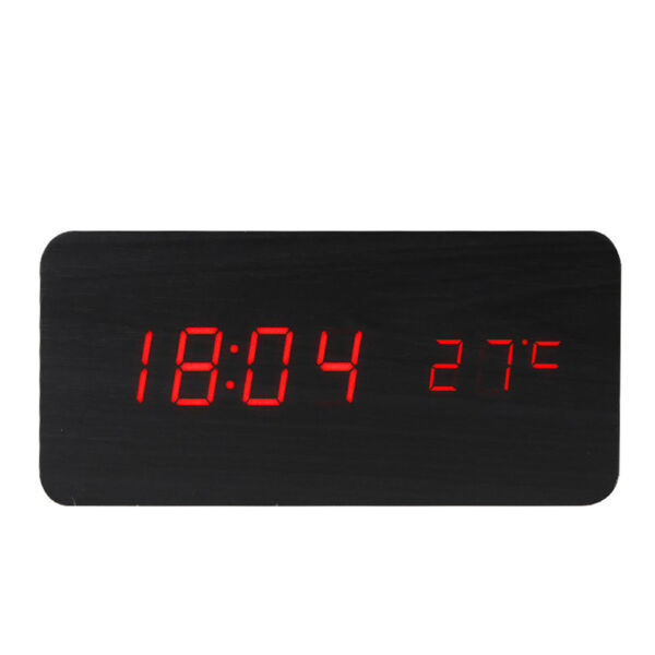 Baldr Wooden Alarm Digital Desk Clock Time And Temperature Display Sound Control Hover To Zoom