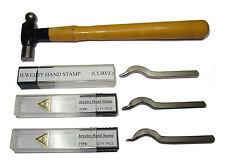 4PC JEWELLERY STAMP SET 916 CARAT GOLD 750 950 + SMALL 2OZ HAMMER JEWELLERY RING