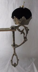ANTIQUE-GEORGIAN-RaRe-metal-SEWING-CLAMP-amp-PIN-CUSHION-c1800-s