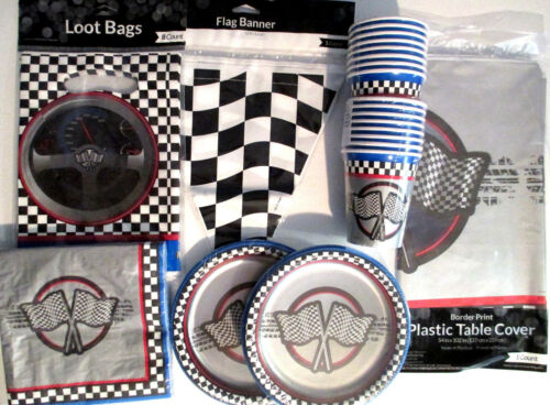 Birthday Party Supplies Set Pack DELUXE KIT w//Banner /& loot Bags !! RACING