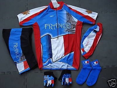 New FRANCE Team Cycling Set Flag Jersey Shorts Dimensione XXL