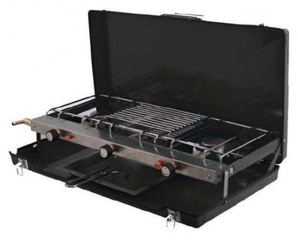 PORTABLE DOUBLE GAS COOKER COOKER GAS HOB with GRILL for camping 2 burner 7baf4a