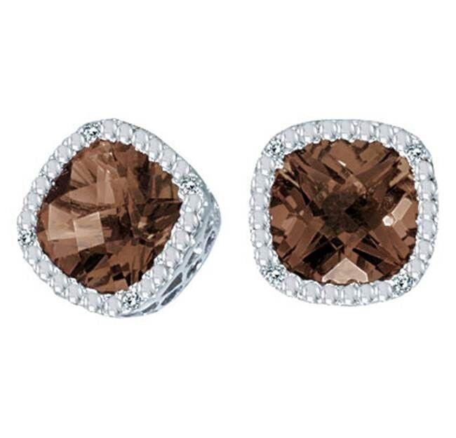 14K 2.70CTW Smoky Topaz and Diamond Cushion Earrings