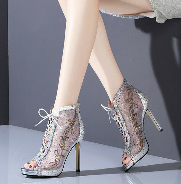 High Heels Cocktail Women's Peeptoe shoes Pumps Lace Up Summer Mesh Party Luxury