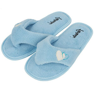 IceBlue Women 39 S Fleece Plush Spa Thong Flip Flops Slippers Bedroom House