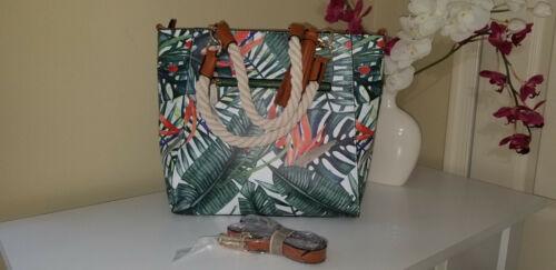 NWT Palm Leaf Printed Vegan Leather Tote Bag Rope Handles /& Adjustable Strap $90