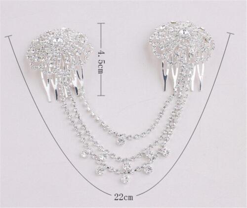 Diamante Pettine per capelli matrimonio floreale Abito da Sposa Copricapo Accessori di cristallo