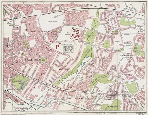 - Large Reprint Yardley Birmingham 1939 Series Map 13 of 24 Small Heath