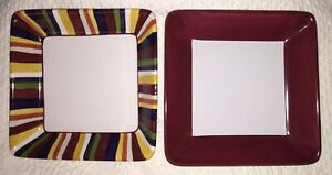 2-Pampered-Chef-Simple-Additions-Square-Salad-Red-cranberry-amp-Stripes-EUC-7-25