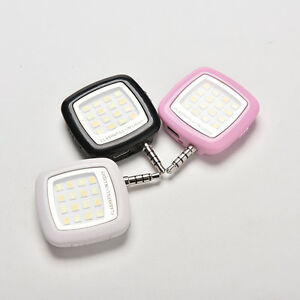 16 LED Camera Smart Selfie Fill Flash Light 3.5mm For Android IOS iPhone JB