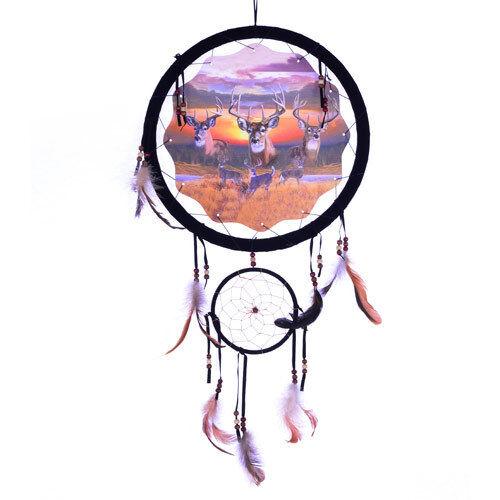 """13/"""" Deer Buck Sunrise Dream Catcher Wall Hang Decor Feathers Beads Gift 1357 New"""