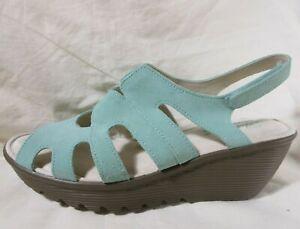 Mint Green Suede Wedge Sandal Peep Toe